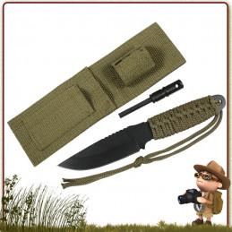 Couteau Bushcraft Allume Feu VERT Rothco france avec pierre à feu firesteel