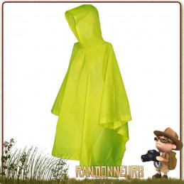 Poncho Vinyle Randonnée NEON GREEN Rothco couleur vive repérable sous la pluie brouillard