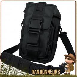Pochette Tactique Flexipack Molle Noire Rothco militaire avec bandoulière de portage sur épaule