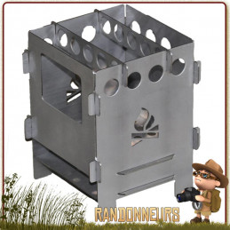 Réchaud bois BushBox de Bushcraft Essentials, réchaud titane ultra léger, multi combustibles (160 g) ultra compact