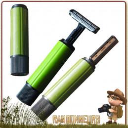 Rasoir twist portable et léger dont la lame s'intègre dans le manche par simple rotation pour la randonnée et voyage