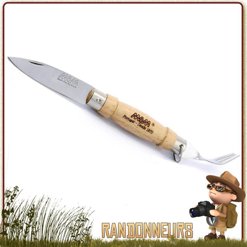 Set Couteau et Couverts de Camping M.A.M. Lame acier inox 6 cm. Manche Hêtre 8 cm idéal pour le trekking
