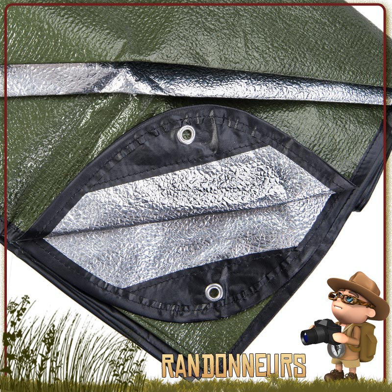 couverture de survie all weather Blanket Grabber, une couverture de survie épaisse pour tarp abri bushcraft