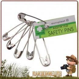 Lot de 12 unités d'épingles de sûreté Europlast pour la fixation de bandages de premiers soins
