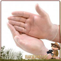 Paire de gants en Vinyl à usage unique pour se protéger des infections lors des premiers soins.