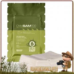 Compresse hémostatique 7x300 Chito SAM 100 contrôle le saignement d'une plaie en quelques minutes coagulation du sang