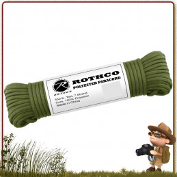 Paracorde survie Polyester 15 m Rothco Vert Olive pas cher