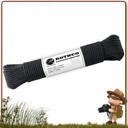 Paracorde Polyester 15 m Rothco Noire de survie nature