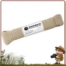 Paracorde Polyester 30 m Rothco Tan dit corde de suspente parachute ou drisse militaire