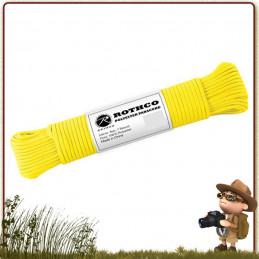 Paracorde randonnée bushcraft Polyester 30 m Rothco Safety Yellow de survie