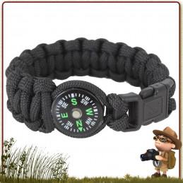 Bracelet de survie randonnée Paracord NOIR avec boussole Rothco