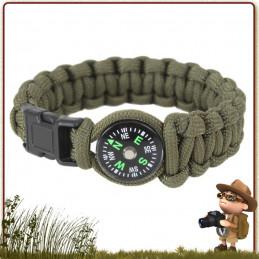 Bracelet Paracord VERT avec boussole Rothco équipement survivaliste
