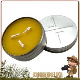 Bougie de Survie CandleTIN EXOTAC cire d'abeille longue durée (6 heures) compacte
