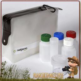 Travel Set avec Pochette Nalgene  flacons de voyage différents boitiers et bouteilles transport aerien