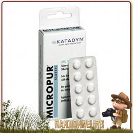 Comprimés MICROPUR Classique MC 10T Katadyn à base d'ions argent pour la conservation de l'eau potable filtrée