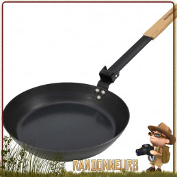 Poele à Frire Acier au carbone 24 cm Muurikka anti adhesive de cuisson feu de bois bivouac bushcraft