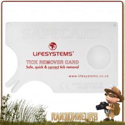 Carte Pince à Tiques Lifesystems format carte bancaire pour la randonnée bushcraft chasse