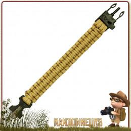Bracelet Paracorde de Survie Coyote Highlander véritable kit de survie complet avec pierre allume feu et sifflet