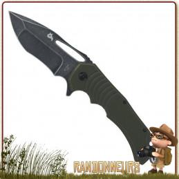 Couteau pliant bushcraft HUGIN Black Fox entièrement en acier 440C finition stonewashed manche g10 vert
