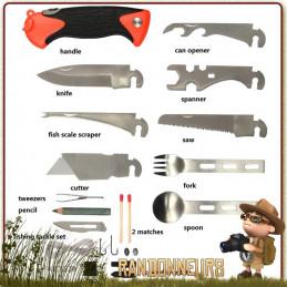 Couteau Kit de Survie Complet Fosco avec nombreux accessoires pour survivre