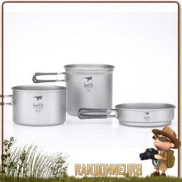 Set Popote Titane 3 Pieces Keith avec pot, casserole et poele ultra leger pour randonner