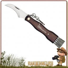 Couteau à champignons 6800 Maserin avec manche bois Noyer, lame fixe spéciale 6 cm courbée avec brosse