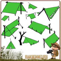 tarp 4 simple étanche Tatonka, abri bivouac léger toile polyester pour la construction d'un abri tarp bushcraft survie nature