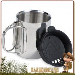 tasse isotherme THERMO 250 de Tatonka est une tasse de 25 cl en acier inox ultra robuste, avec couvercle anti-brulures
