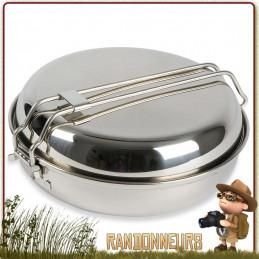 Popote Inox Camp Set 80 cl Large Tatonka en acier inoxydable 18/8 de haute qualité idéale pour feu de camp bushcraft