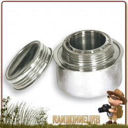 brûleur à alcool Tatonka est en acier inoxydable, compact et robuste, contenance de 120 ml autonomie 40 minutes