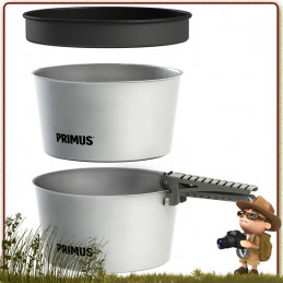 Popote Primus Essential 130 cl aluminium complète de 4 pièces 1 à 3 campeurs randonnée et bivouac léger