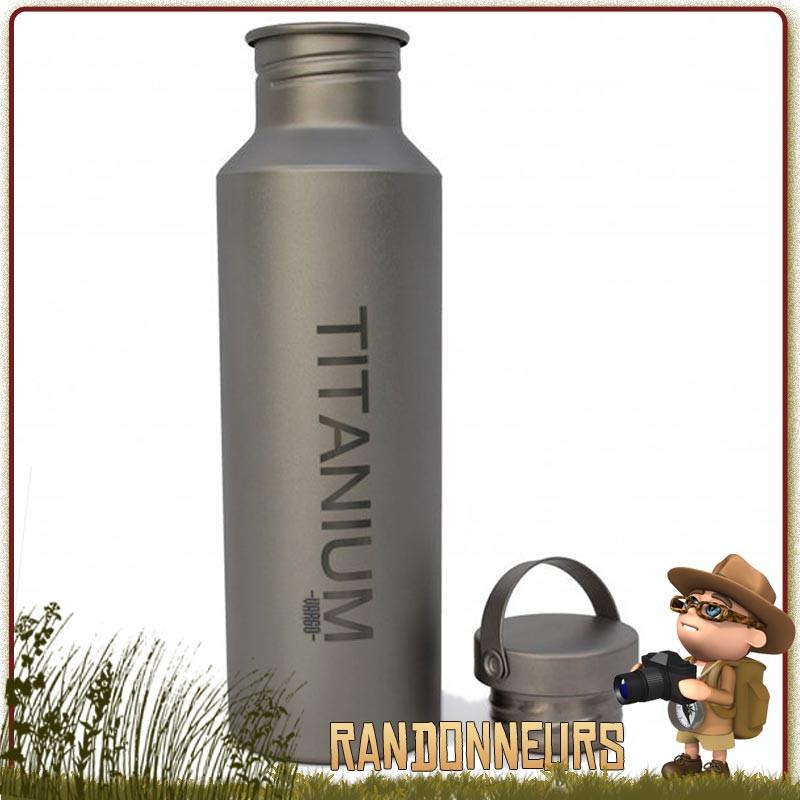 Gourde bouteille ultra légère en titane, la bouteille Ti-Lid Titanium de randonnée Vargo, de volume 65 cl, est ultra light
