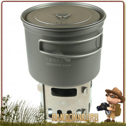 Combo Popote Réchaud Titane randonnée Ultra Light System 90cl Toaks complet avec pare vent support et housse