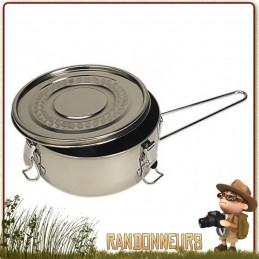 Gamelle Inox avec couvercle pour la cuisson, conservation et consommation des aliments. Résiste au feu de bois