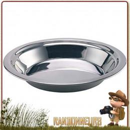 Assiette Creuse Camping Inox diamètre 22 cm. Compacte et robuste idéale pour un campement bivouac bushcraft