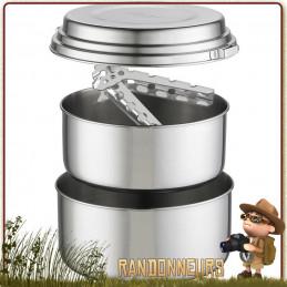 Popote Inox ALPINE 2 Pot Set MSR acier inoxydable robuste pour usage intensif vaisselle bivouac camp bushcraft