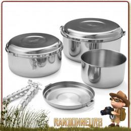 Popote bushcraft Inox ALPINE 4 Pot Set MSR robuste pour usage intensif vaisselle bivouac nature en famille