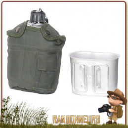 Set Gourde Armée US type GI's Aluminium Rothco VERT OLIVE militaire
