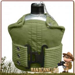 Gourde armée type GI's en alu de l'armée américaine avec housse et ceinture, idéale pour une randonnée bushcraft