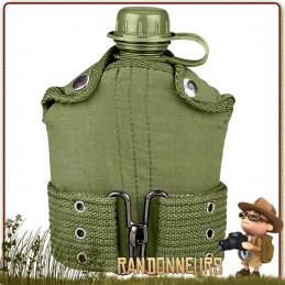 Gourde militaire type GI's en plastique de l'armée américaine avec housse et ceinture, idéale pour une randonnée bushcraft