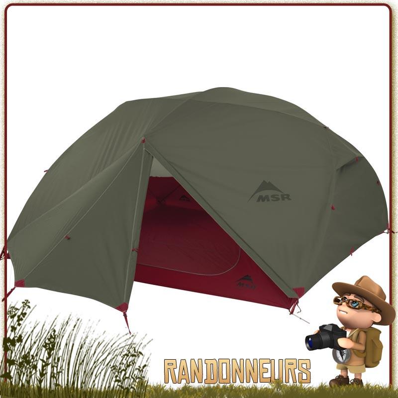 TENTE ELIXIR 4 MSR Verte - Tente de randonnée légère et de camping nomade, pour trois personnes et utilisable sur trois saisons