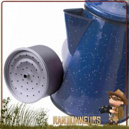 Percolateur Acier Emaillé 8 Tasses Basic Nature pour un bon café bivouac bushcraft sur feu de camp
