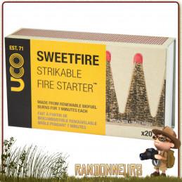 ALLUMETTES SWEETFIRE UCO GEAR - Boite de 20 allumettes briquettes pour l'allumage d'un feu de camp bushcraft