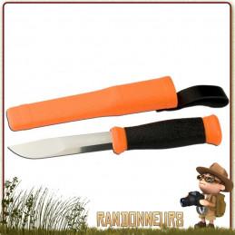 Couteau Morakniv 2000 Orange Lame acier inox 11 cm très tranchante manche en gomme orange et noir