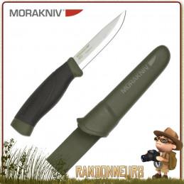 Couteau bushcraft Mora Heavy Duty MG Vert Lame en acier Carbone 10.5 cm, manche gomme noir extra large