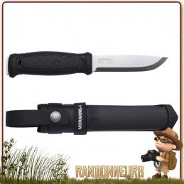 Couteau bushcraft Mora GARBERG Multi mount avec lame full tang acier Carbone 14C28N de 11 cm, manche gomme noir