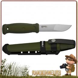 Couteau bushcraft Mora KANSBOL  lame en acier Carbone 12C27 de 11 cm, manche POP gomme vert