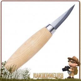 Poignard Bushcraft MORA 120 à Sculpter  manche bois en bouleau, spécialement conçue pour les travaux du bois