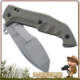 Couteau Bushcraft et Militaire MESKWAKI TRACKER de Fox Military. Couteau pliant lame acier sablée N690Co 13.5 cm à cran