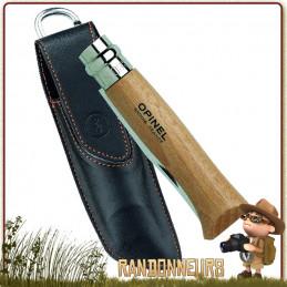 Couteau fermant Opinel 8 VRI manche en bois de hêtre vernis de 11 cm. Lame acier inox sandvik 12C27 modifié